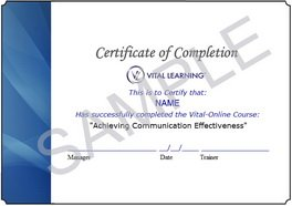 Vital Learning Certificate