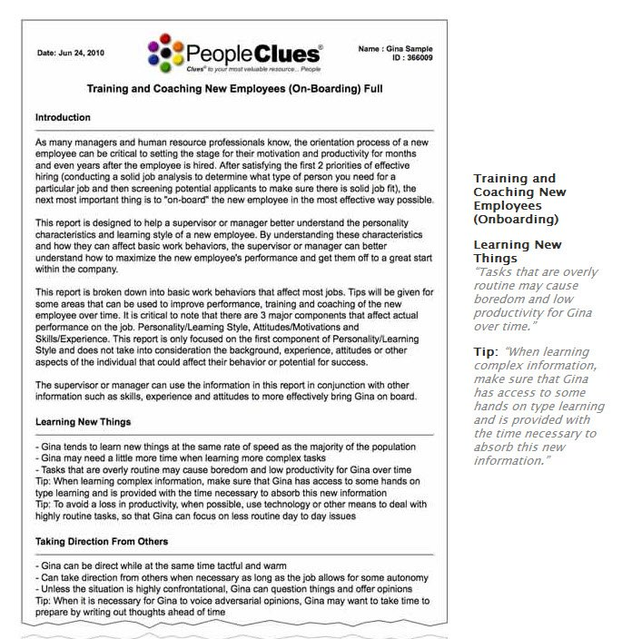 Peopleclues Employee Selection Process Sample Reports