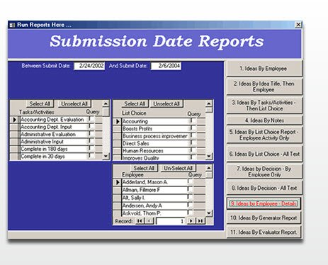 Employee Suggestion Program Tracking Software |